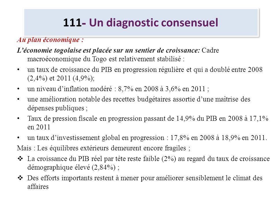 111 - Un diagnostic consensuel Au plan économique : Léconomie togolaise est placée sur un sentier de croissance: Cadre macroéconomique du Togo est rel