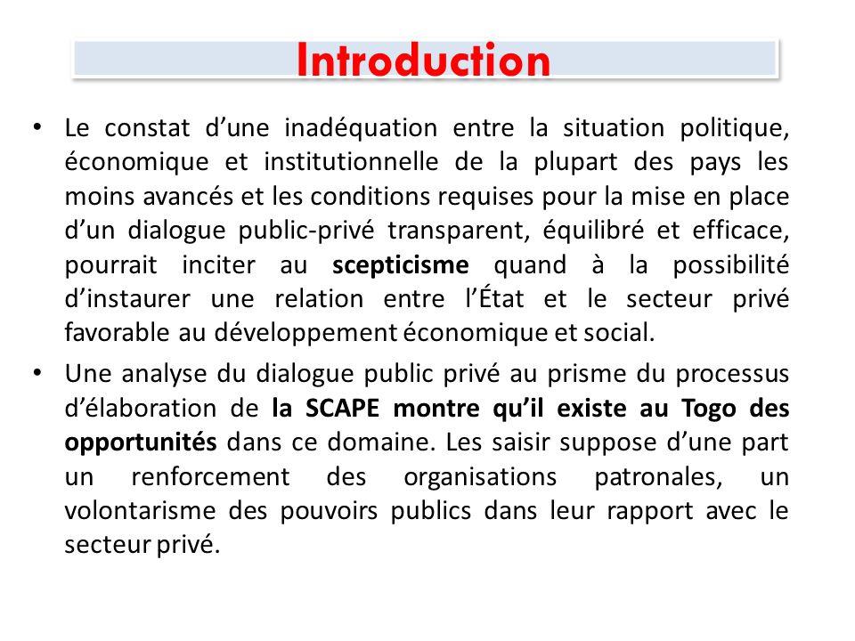 Introduction SCAPE = Cadre de développement à moyen terme pour réaliser la DPG du Gouvernement et atteindre les OMD.