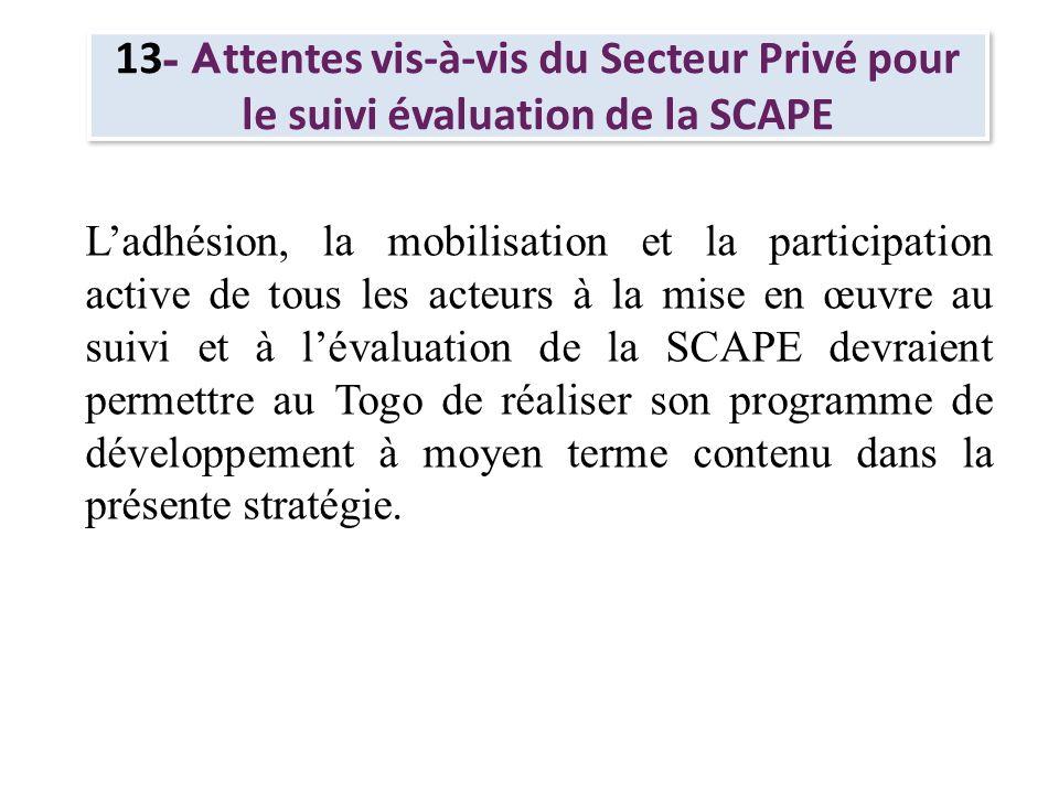 13 - A ttentes vis-à-vis du Secteur Privé pour le suivi évaluation de la SCAPE Ladhésion, la mobilisation et la participation active de tous les acteu