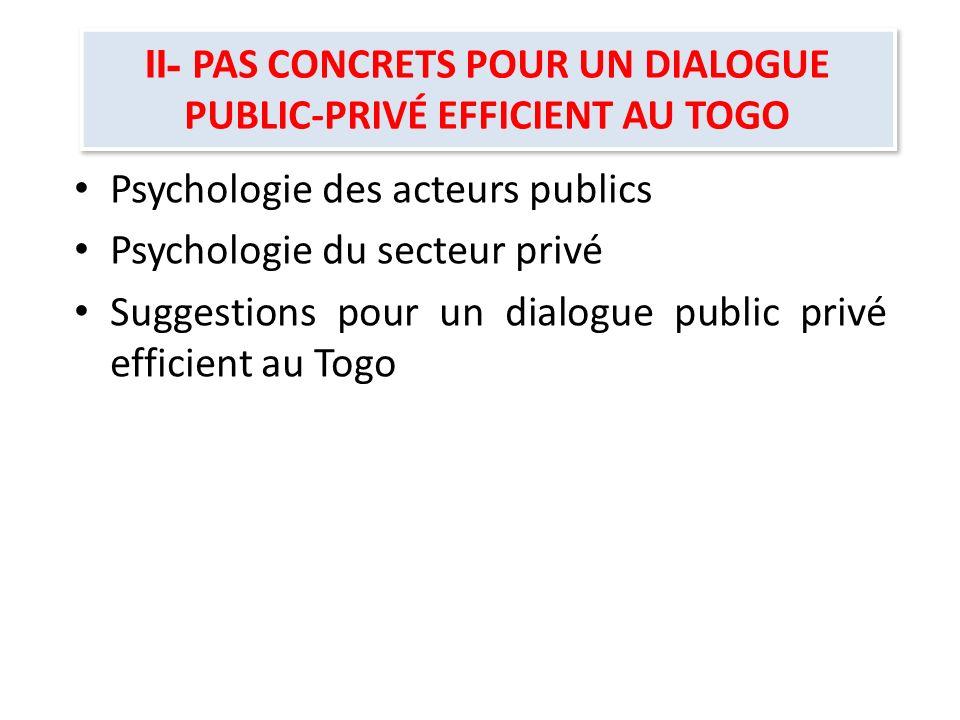 II- PAS CONCRETS POUR UN DIALOGUE PUBLIC-PRIVÉ EFFICIENT AU TOGO Psychologie des acteurs publics Psychologie du secteur privé Suggestions pour un dial