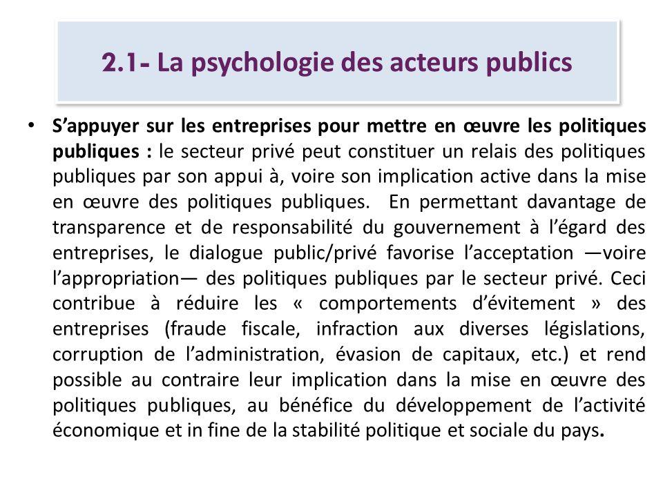 2.1- La psychologie des acteurs publics Sappuyer sur les entreprises pour mettre en œuvre les politiques publiques : le secteur privé peut constituer