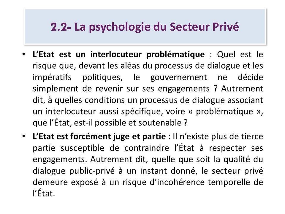 2.2- La psychologie du Secteur Privé LEtat est un interlocuteur problématique : Quel est le risque que, devant les aléas du processus de dialogue et l