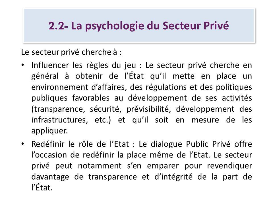 2.2- La psychologie du Secteur Privé Le secteur privé cherche à : Influencer les règles du jeu : Le secteur privé cherche en général à obtenir de lÉta