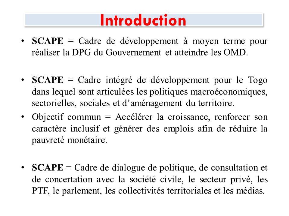 Introduction La SCAPE est articulée autour de cinq (5) chapitres : Le premier chapitre fait le bilan économique et social.