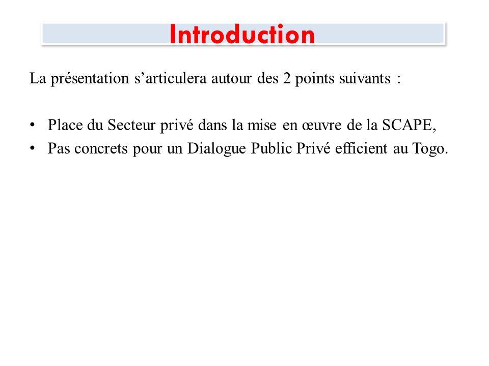 Introduction La présentation sarticulera autour des 2 points suivants : Place du Secteur privé dans la mise en œuvre de la SCAPE, Pas concrets pour un