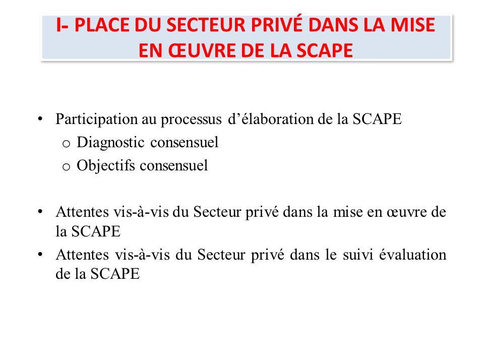 11 - Participation au processus délaboration de la SCAPE SCAPE est le fruit d un processus participatif et consultatif intense mené par le Gouvernement et qui a associé à toutes les étapes et activités de la feuille de route les acteurs de ladministration publique et des institutions de la République, du secteur privé, de la société civile, des régions et les PTF.