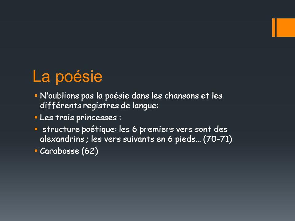 La poésie Noublions pas la poésie dans les chansons et les différents registres de langue: Les trois princesses : structure poétique: les 6 premiers v