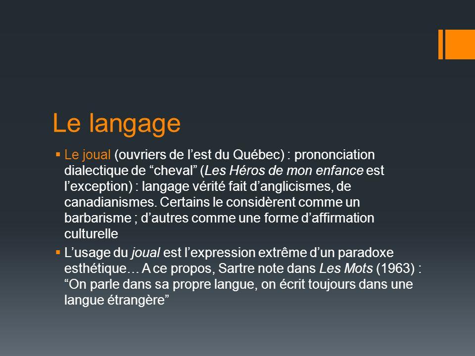 Le joual (ouvriers de lest du Québec) : prononciation dialectique de cheval (Les Héros de mon enfance est lexception) : langage vérité fait danglicism