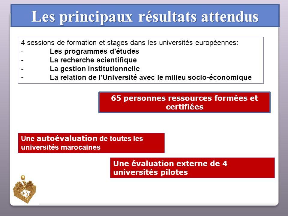 Les principaux résultats attendus 4 sessions de formation et stages dans les universités européennes: -Les programmes d'études -La recherche scientifi