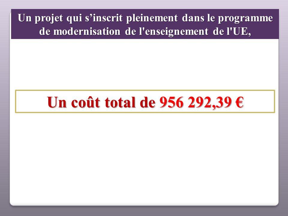Un projet qui sinscrit pleinement dans le programme de modernisation de l'enseignement de l'UE, Un coût total de 956 292,39 Un coût total de 956 292,3