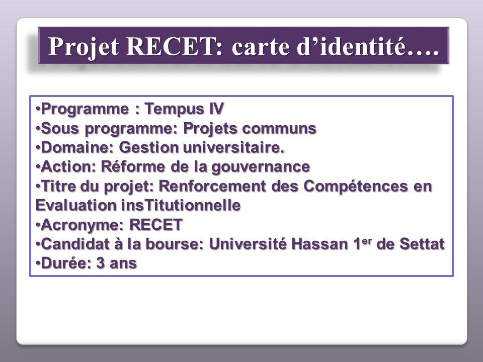 Programme : Tempus IVProgramme : Tempus IV Sous programme: Projets communsSous programme: Projets communs Domaine: Gestion universitaire.Domaine: Gest