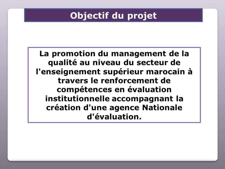 Objectif du projet La promotion du management de la qualité au niveau du secteur de l'enseignement supérieur marocain à travers le renforcement de com