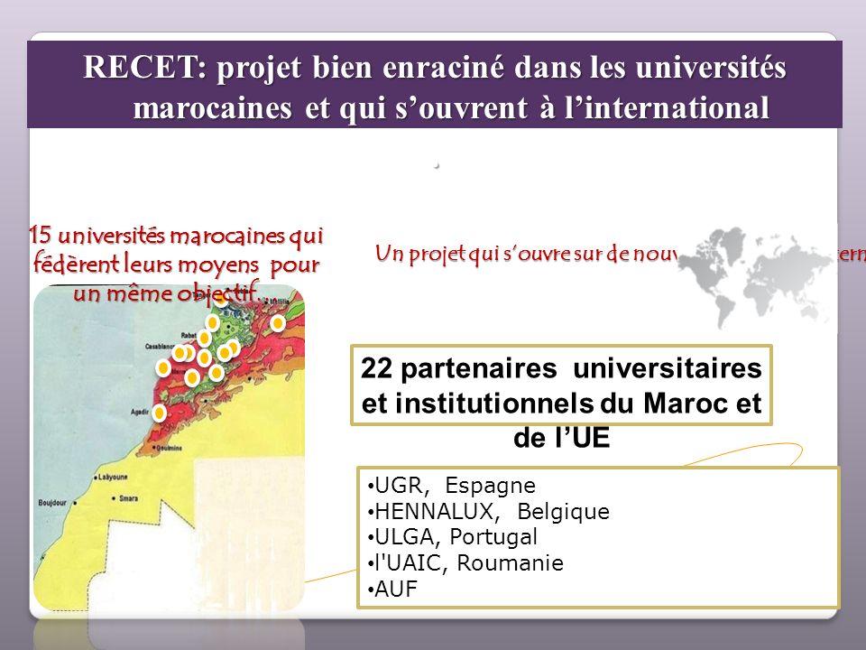 RECET: projet bien enraciné dans les universités marocaines et qui souvrent à linternational. 22 partenaires universitaires et institutionnels du Maro