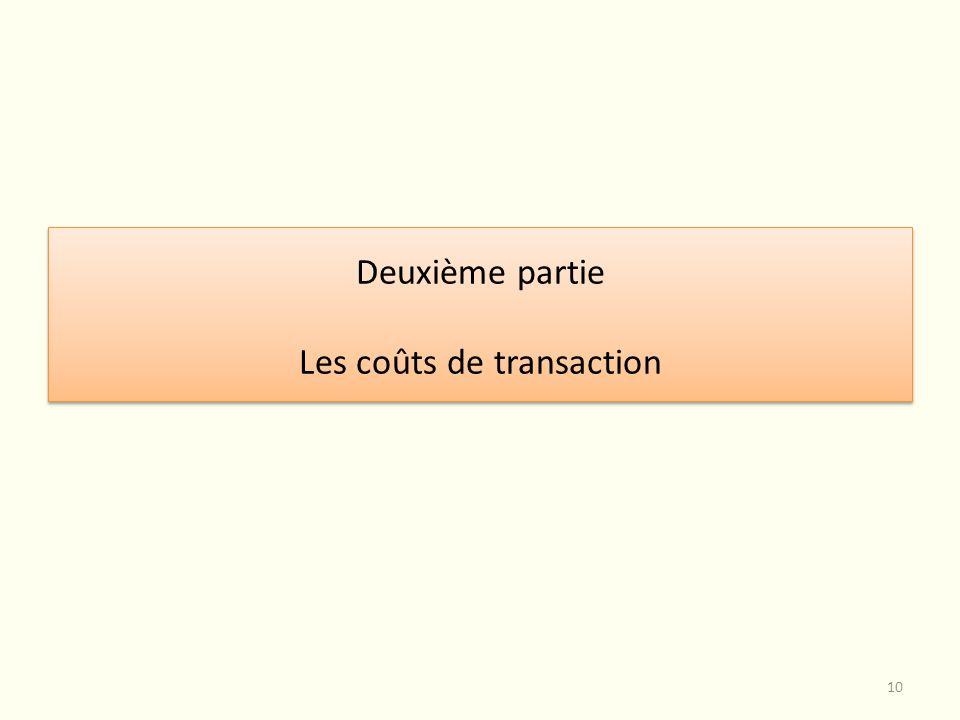 Deuxième partie Les coûts de transaction Deuxième partie Les coûts de transaction 10