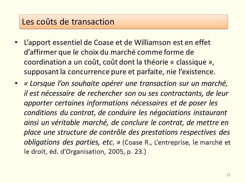 Lapport essentiel de Coase et de Williamson est en effet daffirmer que le choix du marché comme forme de coordination a un coût, coût dont la théorie