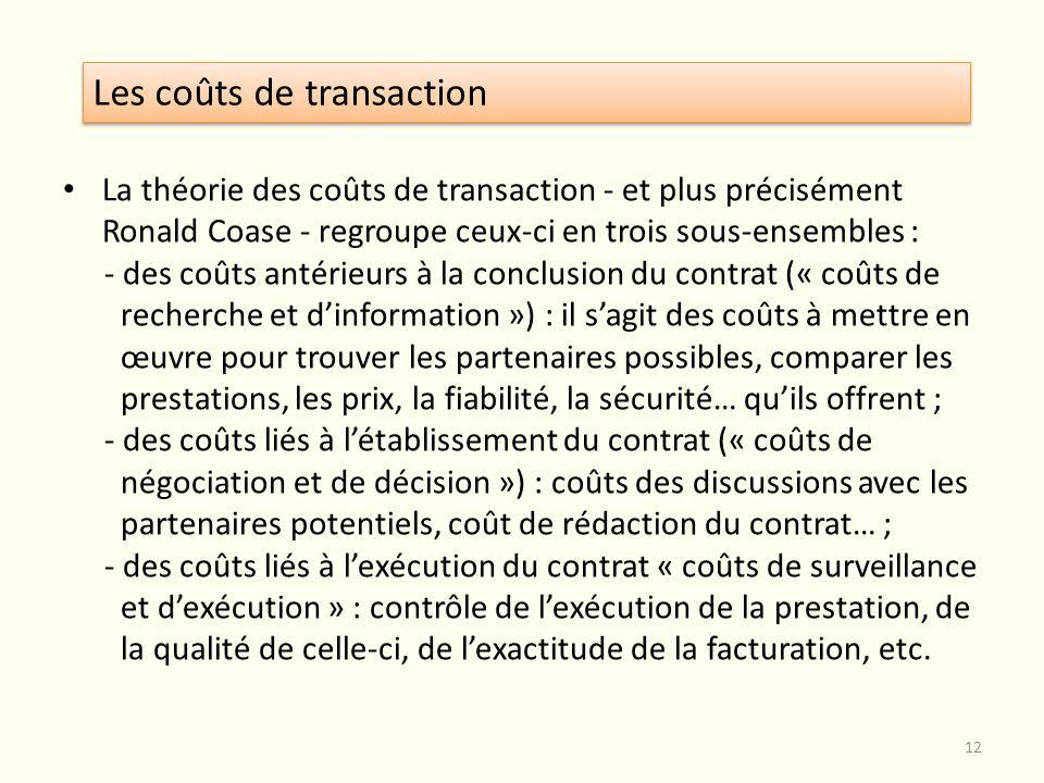 La théorie des coûts de transaction - et plus précisément Ronald Coase - regroupe ceux-ci en trois sous-ensembles : - des coûts antérieurs à la conclu