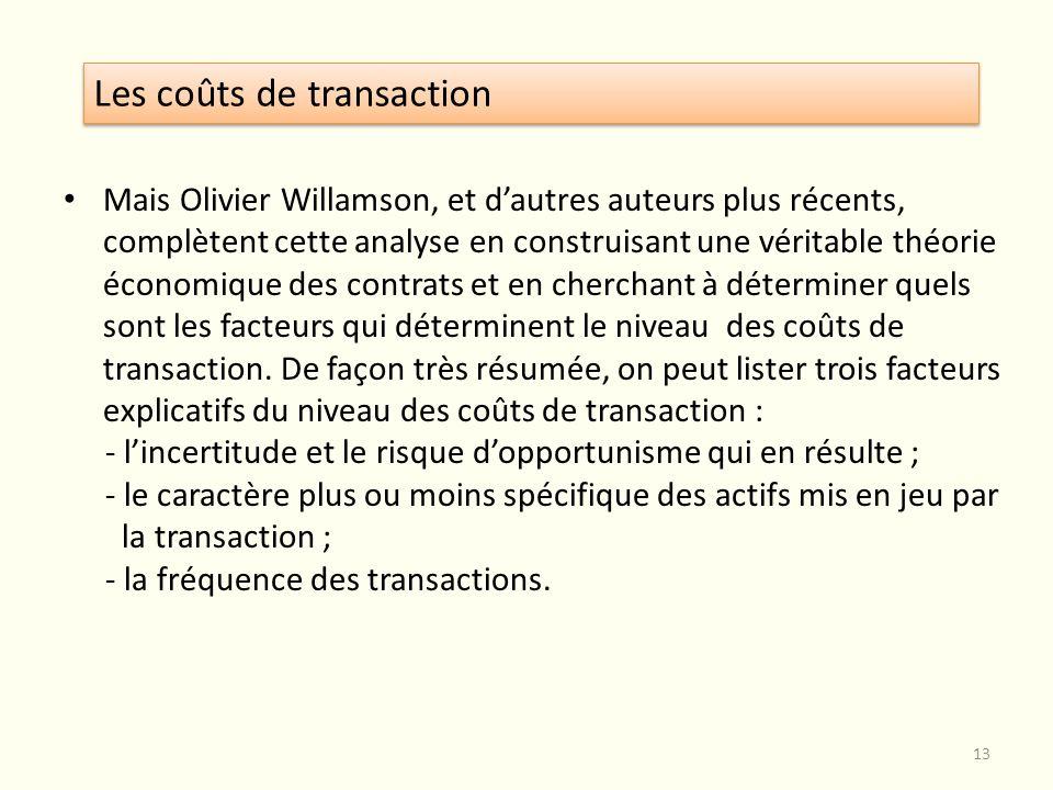 Mais Olivier Willamson, et dautres auteurs plus récents, complètent cette analyse en construisant une véritable théorie économique des contrats et en