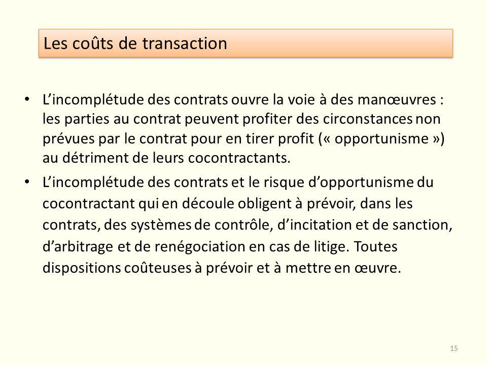 Lincomplétude des contrats ouvre la voie à des manœuvres : les parties au contrat peuvent profiter des circonstances non prévues par le contrat pour e