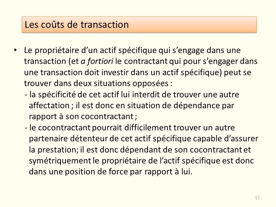 Le propriétaire dun actif spécifique qui sengage dans une transaction (et a fortiori le contractant qui pour sengager dans une transaction doit invest