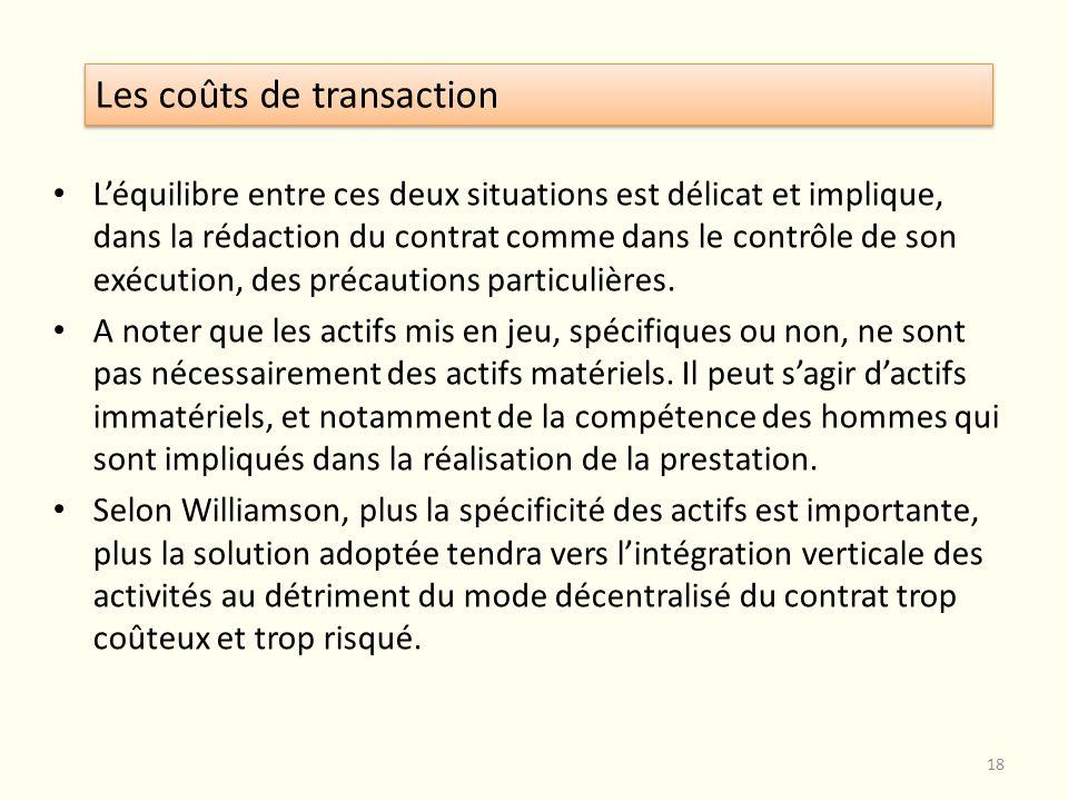Léquilibre entre ces deux situations est délicat et implique, dans la rédaction du contrat comme dans le contrôle de son exécution, des précautions pa