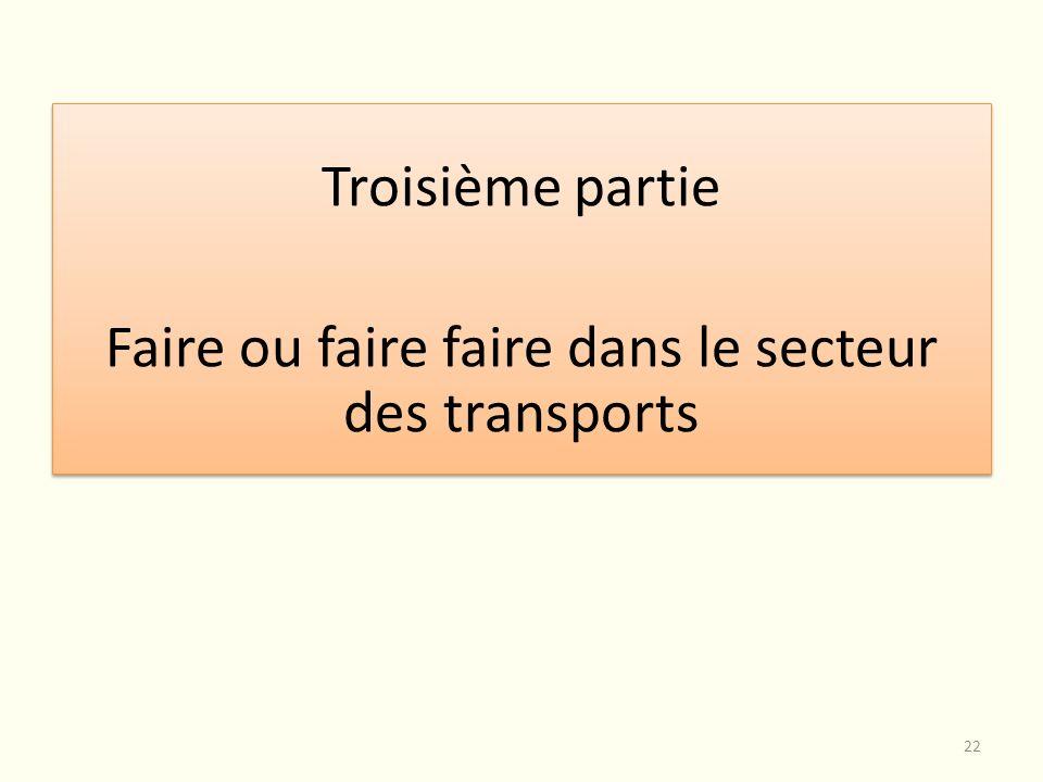 Troisième partie Faire ou faire faire dans le secteur des transports Troisième partie Faire ou faire faire dans le secteur des transports 22