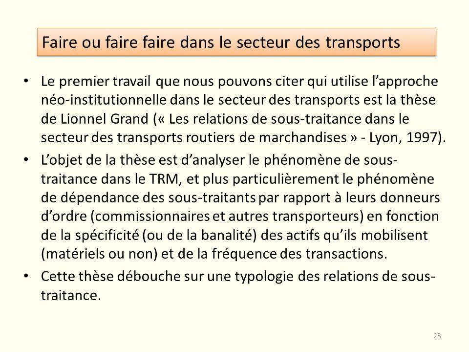 Faire ou faire faire dans le secteur des transports Le premier travail que nous pouvons citer qui utilise lapproche néo-institutionnelle dans le secte