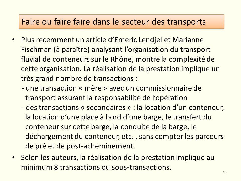 Plus récemment un article dEmeric Lendjel et Marianne Fischman (à paraître) analysant lorganisation du transport fluvial de conteneurs sur le Rhône, m