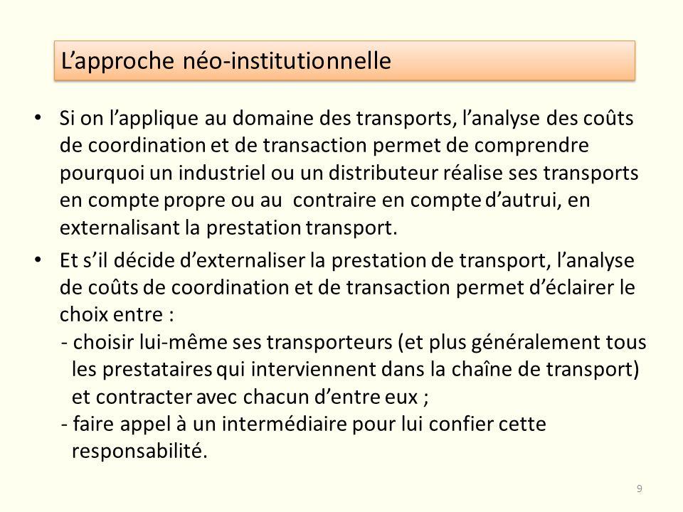 Si on lapplique au domaine des transports, lanalyse des coûts de coordination et de transaction permet de comprendre pourquoi un industriel ou un dist