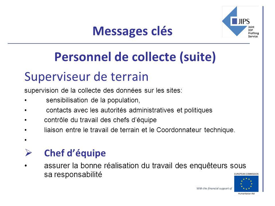 Messages clés Personnel de collecte (suite) Superviseur de terrain supervision de la collecte des données sur les sites: sensibilisation de la populat