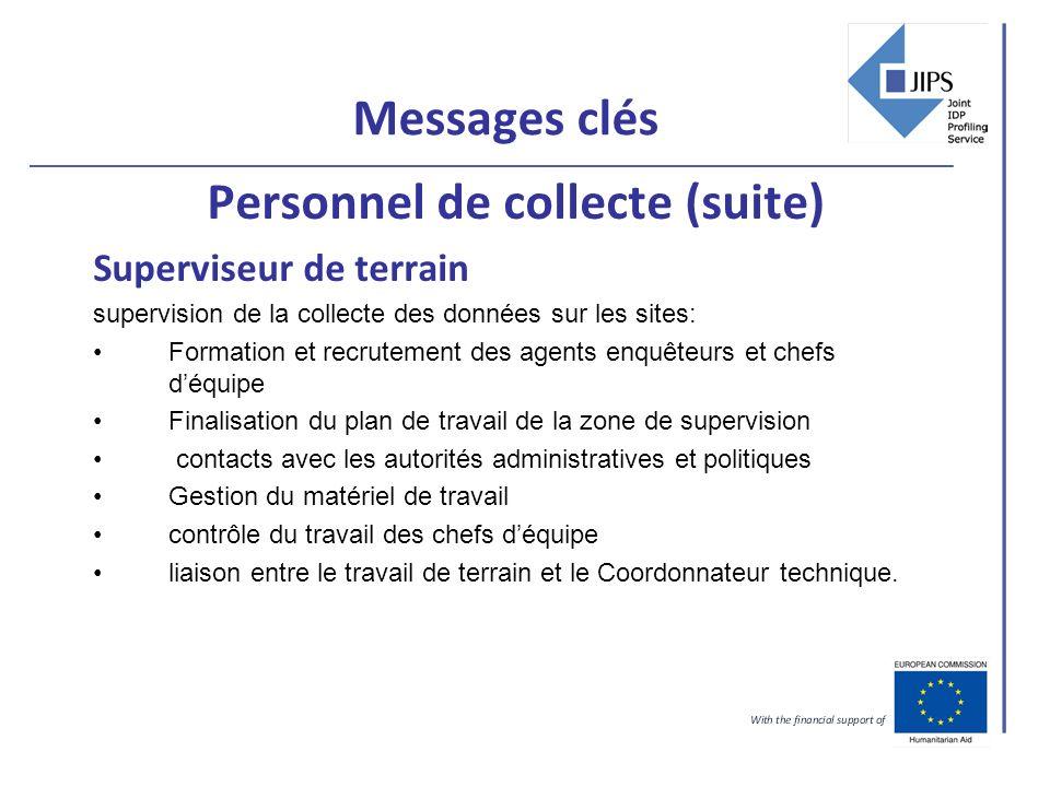 Messages clés Personnel de collecte (suite) Superviseur de terrain supervision de la collecte des données sur les sites: Formation et recrutement des