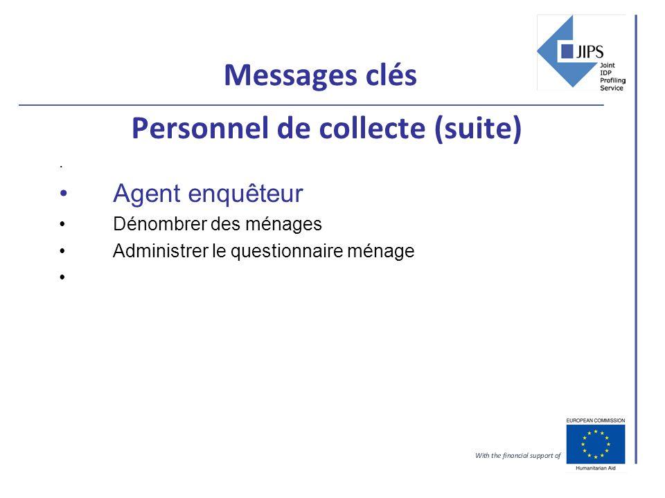 Messages clés Personnel de collecte (suite). Agent enquêteur Dénombrer des ménages Administrer le questionnaire ménage