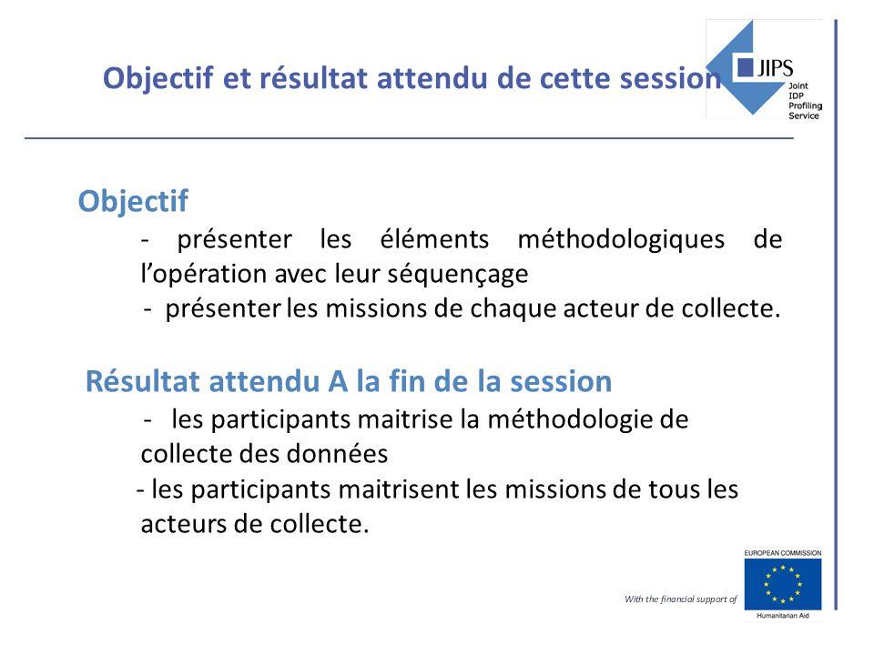 Objectif et résultat attendu de cette session Objectif - présenter les éléments méthodologiques de lopération avec leur séquençage - présenter les mis