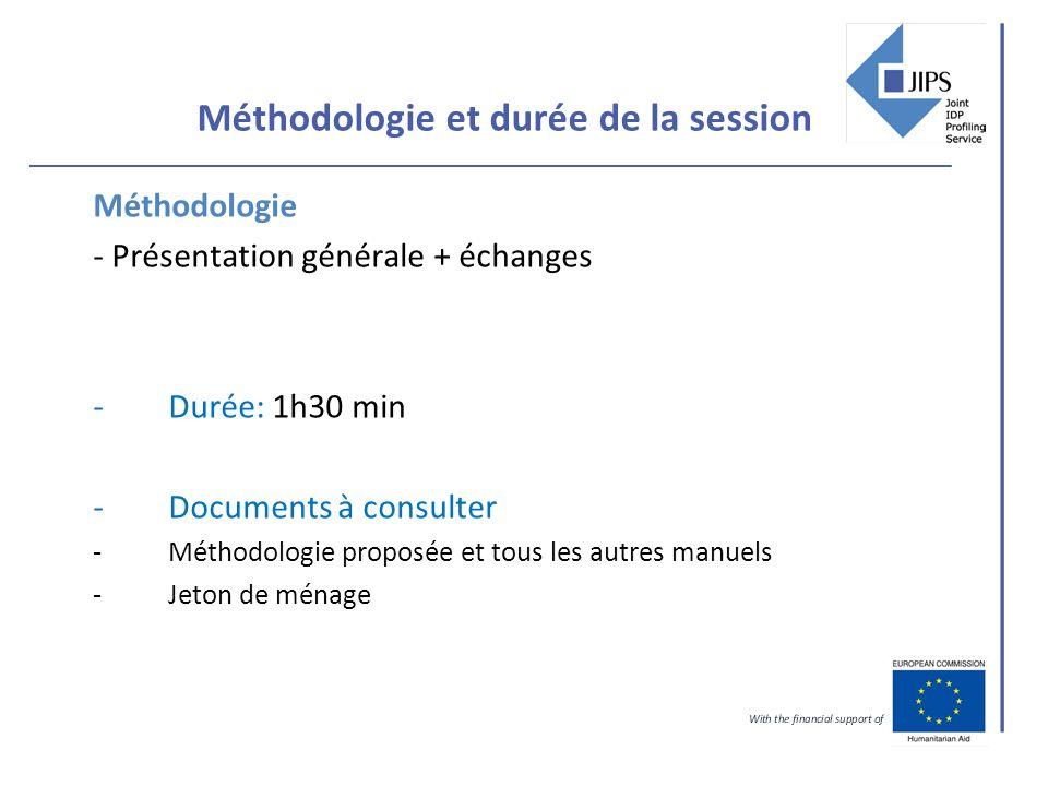 Méthodologie et durée de la session Méthodologie - Présentation générale + échanges -Durée: 1h30 min -Documents à consulter -Méthodologie proposée et