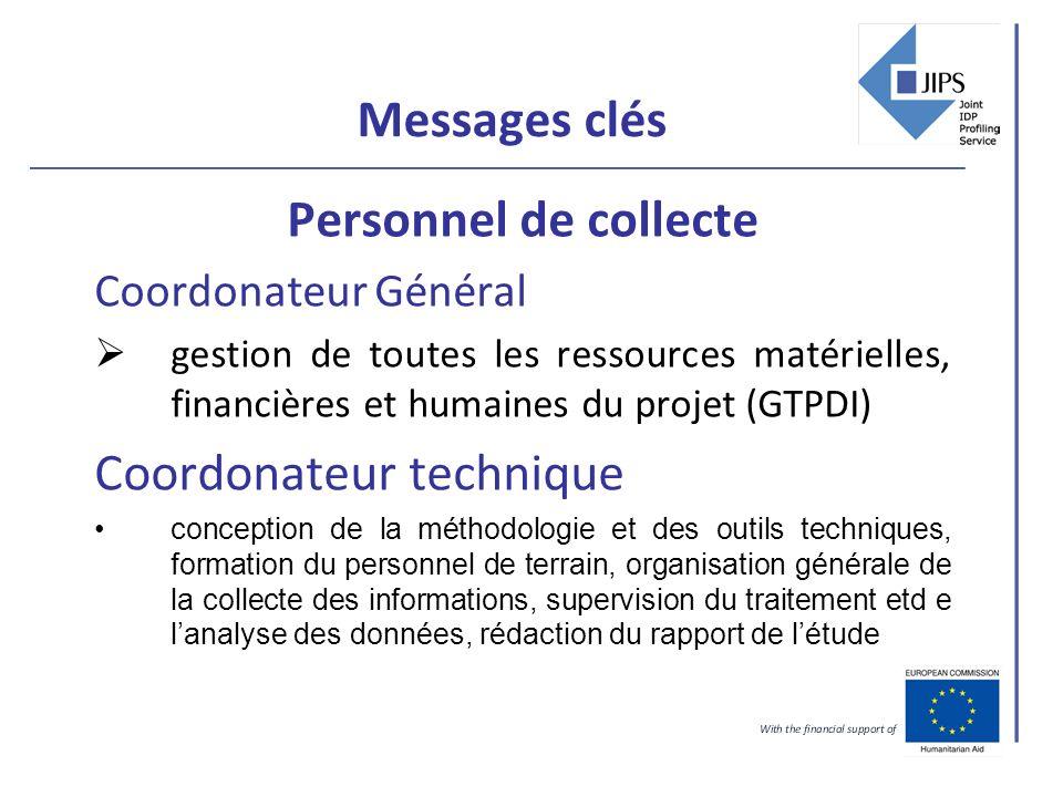 Messages clés Personnel de collecte Coordonateur Général gestion de toutes les ressources matérielles, financières et humaines du projet (GTPDI) Coord