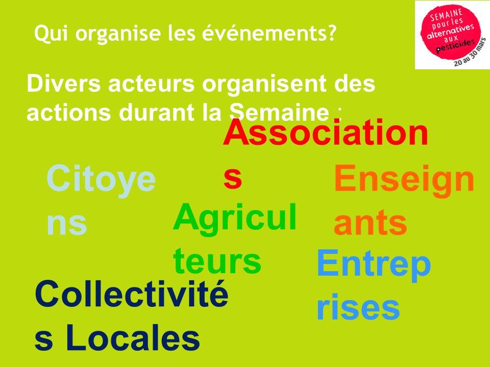 Divers acteurs organisent des actions durant la Semaine : Association s Citoye ns Entrep rises Agricul teurs Collectivité s Locales Enseign ants Qui o