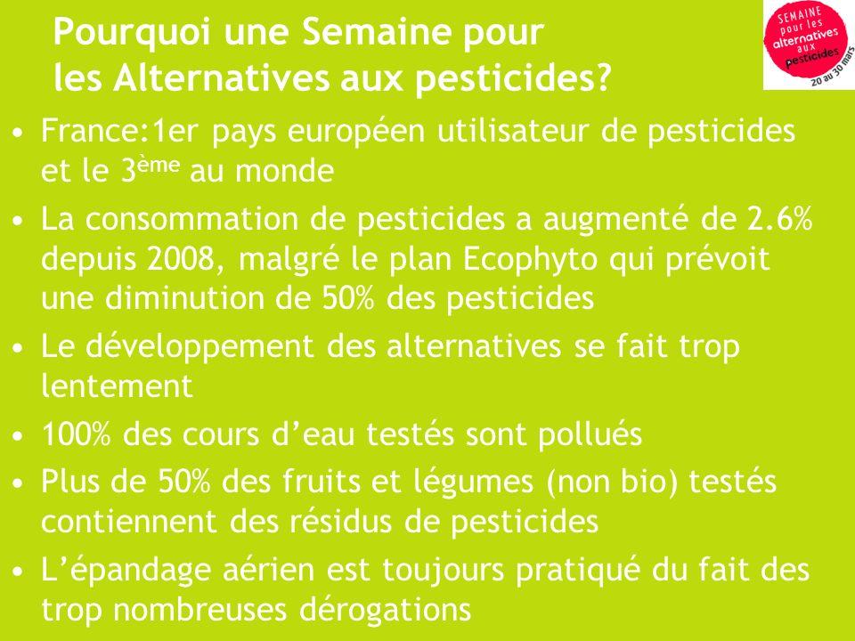 Pourquoi une Semaine pour les Alternatives aux pesticides? France:1er pays européen utilisateur de pesticides et le 3 ème au monde La consommation de