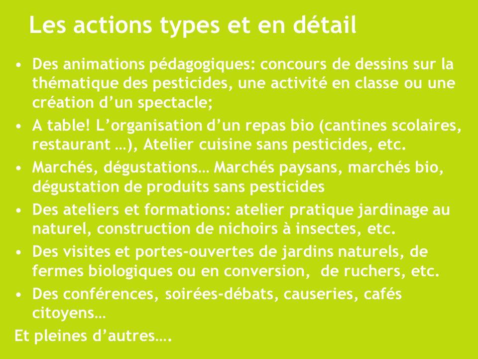 Les actions types et en détail Des animations pédagogiques: concours de dessins sur la thématique des pesticides, une activité en classe ou une créati