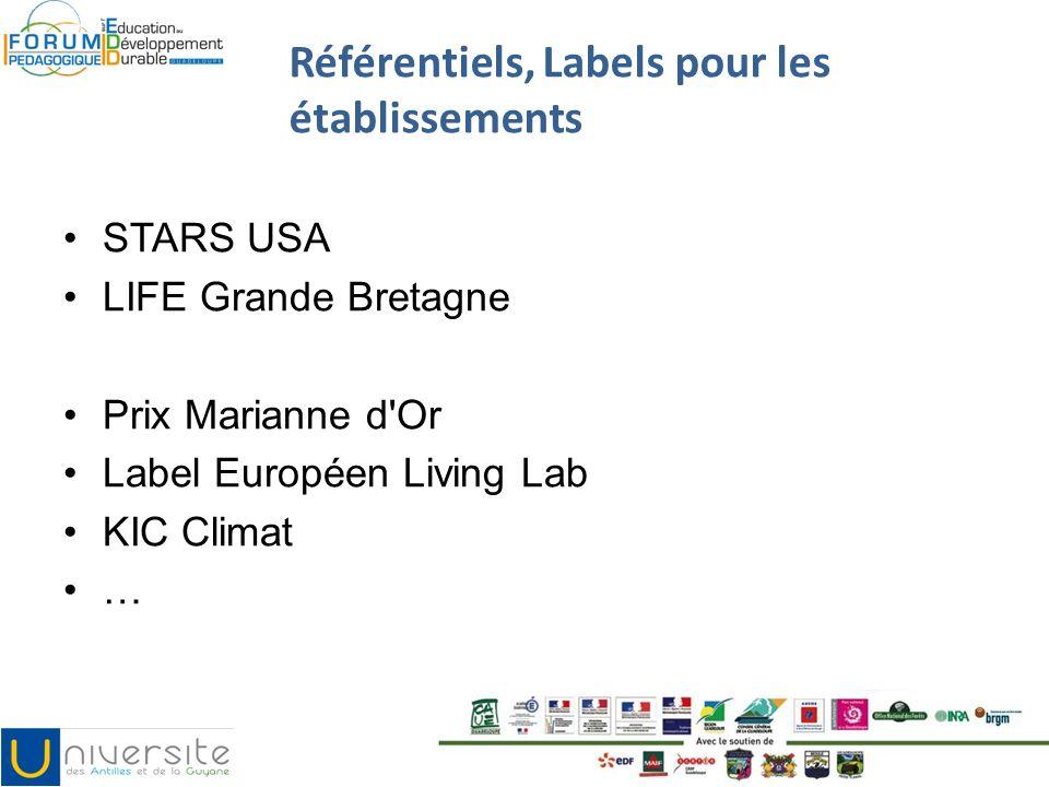 Référentiels, Labels pour les établissements STARS USA LIFE Grande Bretagne Prix Marianne d'Or Label Européen Living Lab KIC Climat …