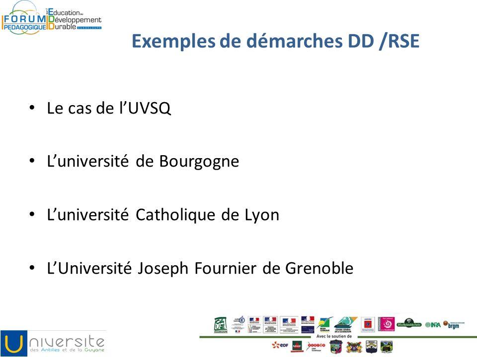 Exemples de démarches DD /RSE Le cas de lUVSQ Luniversité de Bourgogne Luniversité Catholique de Lyon LUniversité Joseph Fournier de Grenoble