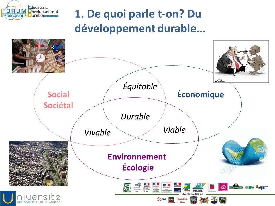 1. De quoi parle t-on? Du développement durable… Durable Environnement Écologie Social Sociétal Économique Équitable Vivable Viable