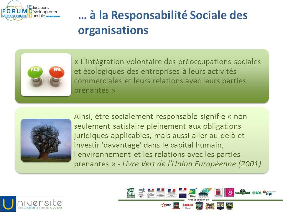 … à la Responsabilité Sociale des organisations « L'intégration volontaire des préoccupations sociales et écologiques des entreprises à leurs activité