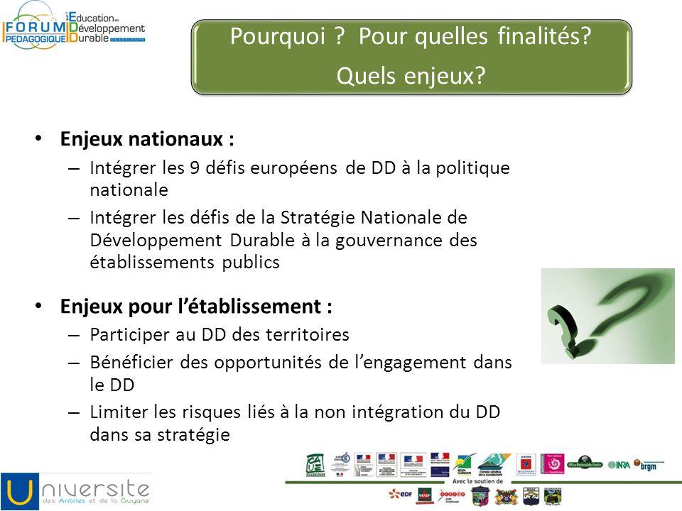 Pourquoi ? Pour quelles finalités? Quels enjeux? Enjeux nationaux : – Intégrer les 9 défis européens de DD à la politique nationale – Intégrer les déf