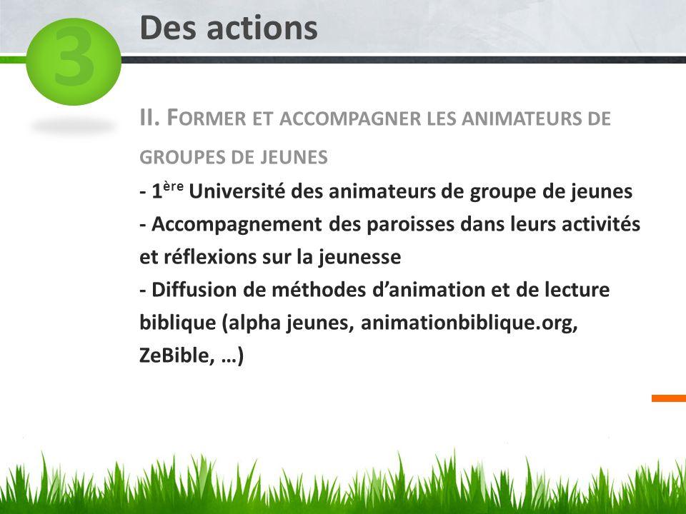 II. F ORMER ET ACCOMPAGNER LES ANIMATEURS DE GROUPES DE JEUNES - 1 ère Université des animateurs de groupe de jeunes - Accompagnement des paroisses da