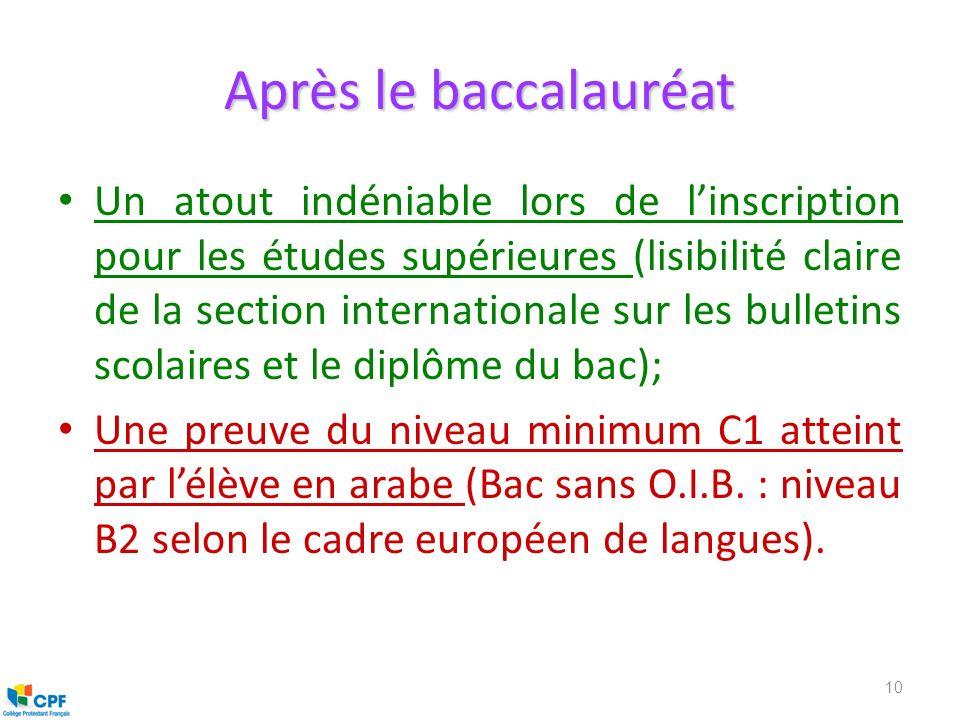 Après le baccalauréat Un atout indéniable lors de linscription pour les études supérieures (lisibilité claire de la section internationale sur les bul