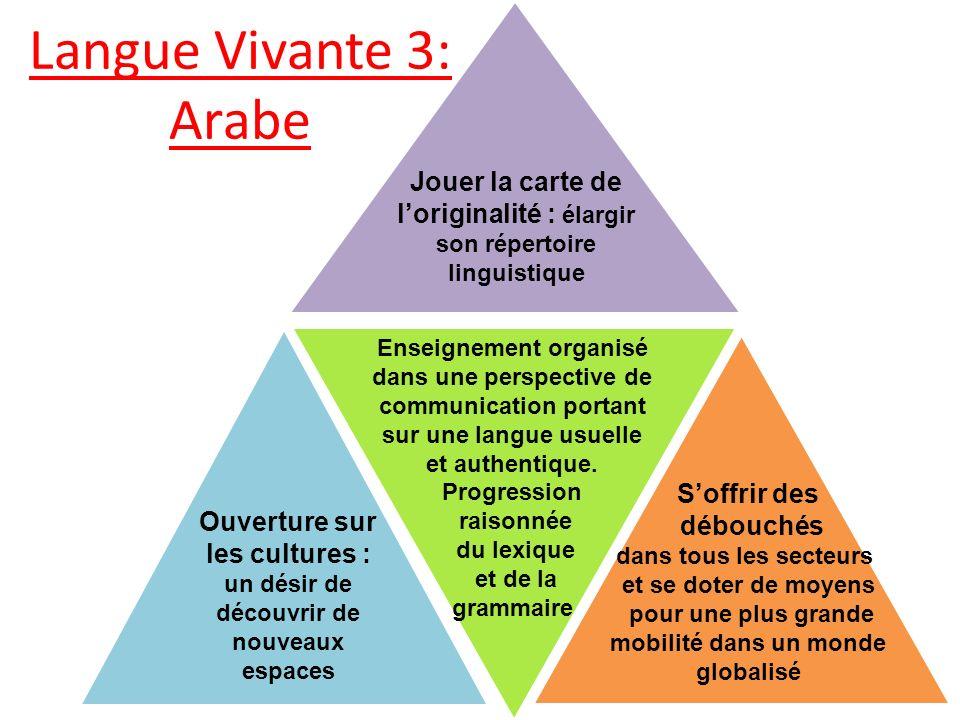 Langue Vivante 3: Arabe 22 Jouer la carte de loriginalité : élargir son répertoire linguistique Soffrir des débouchés dans tous les secteurs et se dot