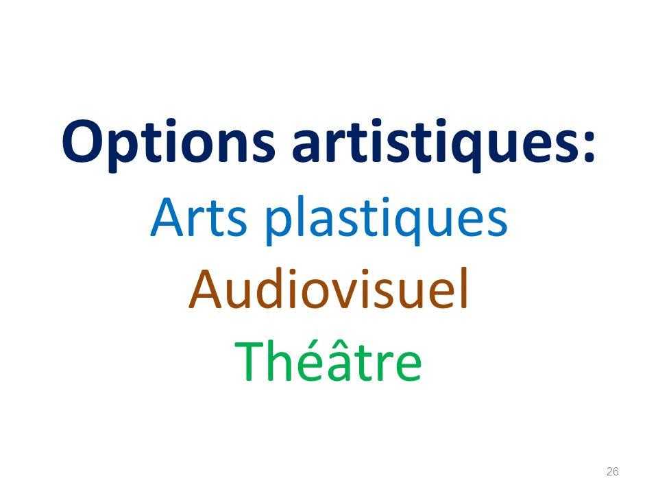 Options artistiques: Arts plastiques Audiovisuel Théâtre 26