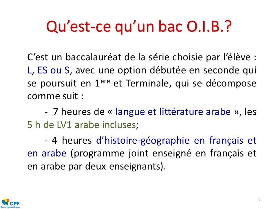 Quest-ce quun bac O.I.B.? Cest un baccalauréat de la série choisie par lélève : L, ES ou S, avec une option débutée en seconde qui se poursuit en 1 èr