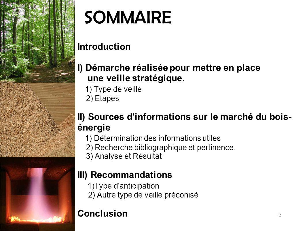 SOMMAIRE Introduction I) Démarche réalisée pour mettre en place une veille stratégique. 1) Type de veille 2) Etapes II) Sources d'informations sur le