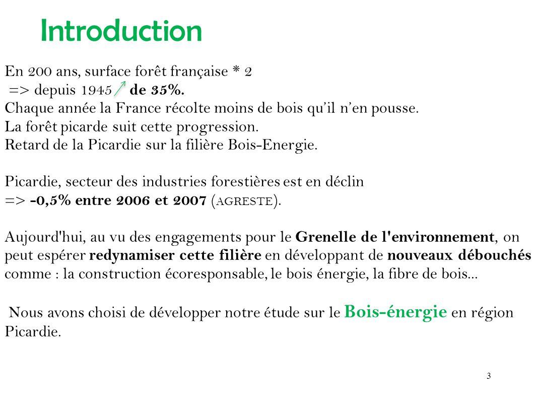 En 200 ans, surface forêt française * 2 => depuis 1945 de 35%. Chaque année la France récolte moins de bois quil nen pousse. La forêt picarde suit cet