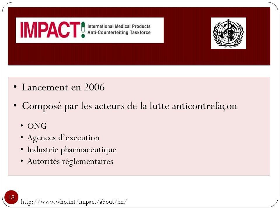 http://www.who.int/impact/about/en/ 13 Lancement en 2006 Composé par les acteurs de la lutte anticontrefaçon ONG Agences dexecution Industrie pharmace